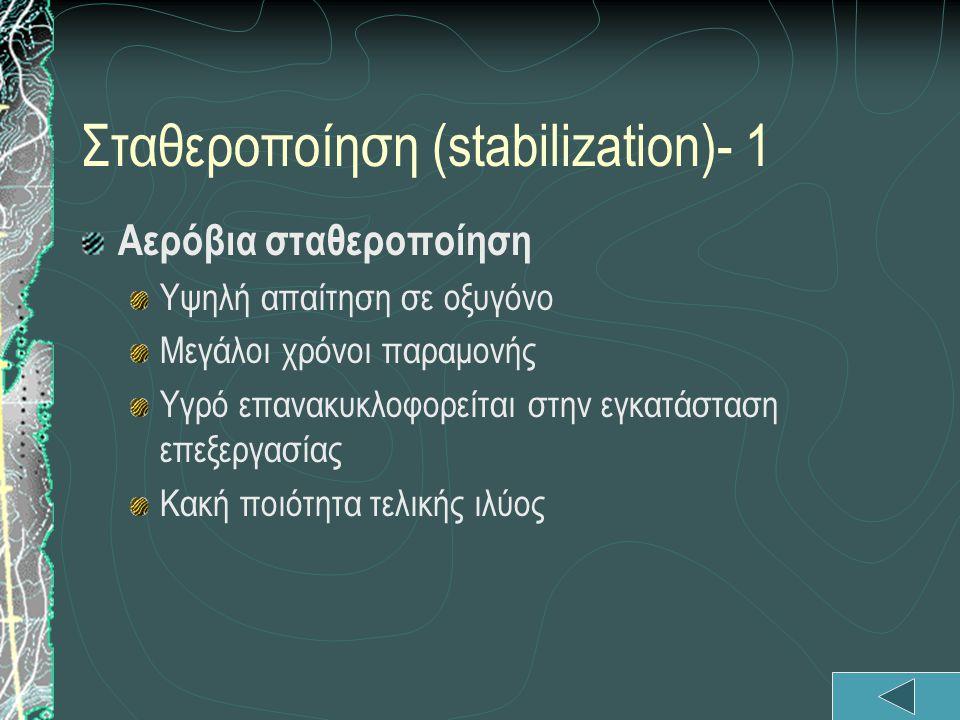 Σταθεροποίηση (stabilization)- 1 Aερόβια σταθεροποίηση Υψηλή απαίτηση σε οξυγόνο Μεγάλοι χρόνοι παραμονής Υγρό επανακυκλοφορείται στην εγκατάσταση επε