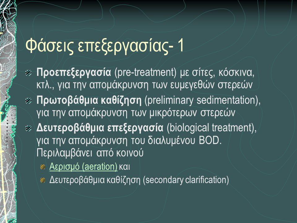 Φάσεις επεξεργασίας- 1 Προεπεξεργασία (pre-treatment) με σίτες, κόσκινα, κτλ., για την απομάκρυνση των ευμεγεθών στερεών Πρωτοβάθμια καθίζηση (prelimi