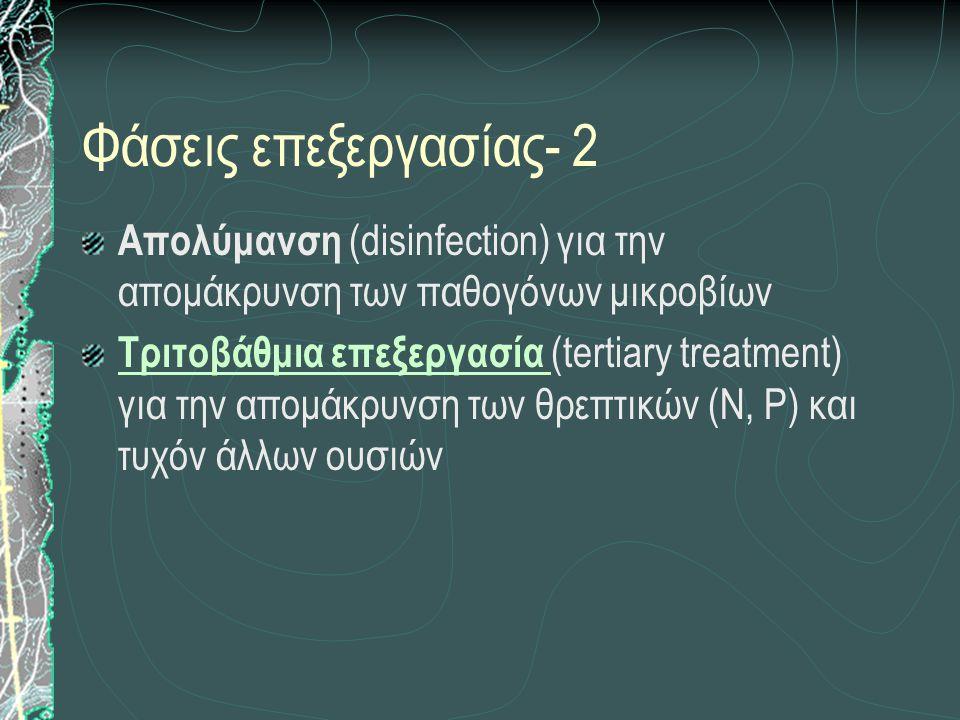 Φάσεις επεξεργασίας- 2 Aπολύμανση (disinfection) για την απομάκρυνση των παθογόνων μικροβίων Τριτοβάθμια επεξεργασία Τριτοβάθμια επεξεργασία (tertiary