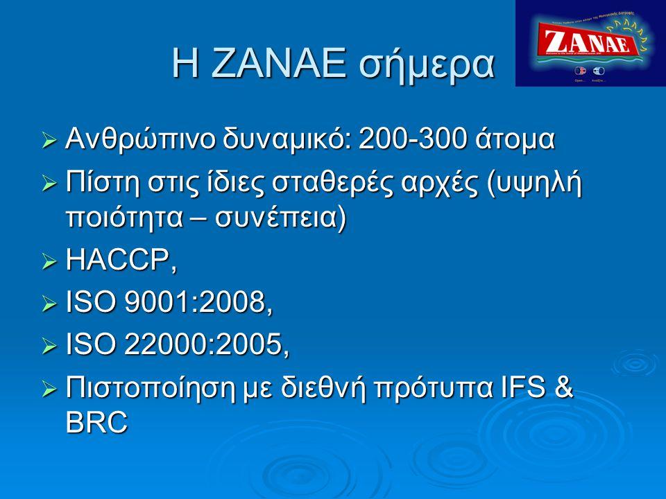 Η ΖΑΝAΕ σήμερα  Ανθρώπινο δυναμικό: 200-300 άτομα  Πίστη στις ίδιες σταθερές αρχές (υψηλή ποιότητα – συνέπεια)  HACCP,  ISO 9001:2008,  ISO 22000