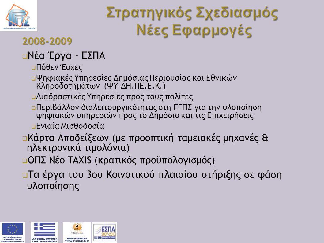 2008-2009  Νέα Έργα - ΕΣΠΑ  Πόθεν Έσχες  Ψηφιακές Υπηρεσίες Δημόσιας Περιουσίας και Εθνικών Κληροδοτημάτων (ΨΥ-ΔΗ.ΠΕ.Ε.Κ.)  Διαδραστικές Υπηρεσίες