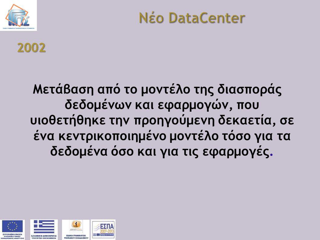 2002 Μετάβαση από το μοντέλο της διασποράς δεδομένων και εφαρμογών, που υιοθετήθηκε την προηγούμενη δεκαετία, σε ένα κεντρικοποιημένο μοντέλο τόσο για