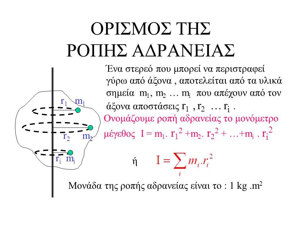 ΟΡΙΣΜΟΣ ΤΗΣ ΡΟΠΗΣ ΑΔΡΑΝΕΙΑΣ r 1 m 1 r 2 m 2 r i m i Ένα στερεό που μπορεί να περιστραφεί γύρω από άξονα, αποτελείται από τα υλικά σημεία m 1, m 2 … m i που απέχουν από τον άξονα αποστάσεις r 1, r 2 … r i.
