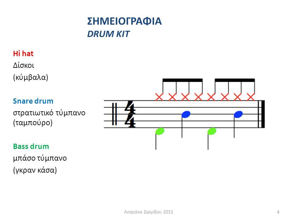 Hi hat Δίσκοι (κύμβαλα) Snare drum στρατιωτικό τύμπανο (ταμπούρο) Bass drum μπάσο τύμπανο (γκραν κάσα) Αντριάνα Σεργίδου 20114 ΣΗΜΕΙΟΓΡΑΦΙΑ DRUM KIT