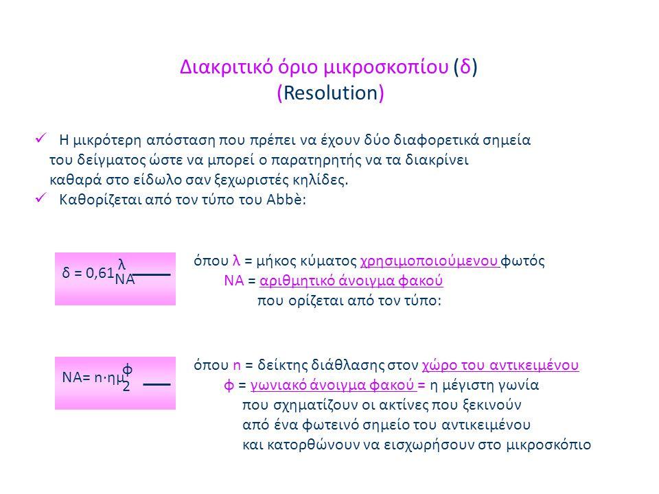 Διακριτικό όριο μικροσκοπίου (δ) (Resolution)  Η μικρότερη απόσταση που πρέπει να έχουν δύο διαφορετικά σημεία του δείγματος ώστε να μπορεί ο παρατηρητής να τα διακρίνει καθαρά στο είδωλο σαν ξεχωριστές κηλίδες.