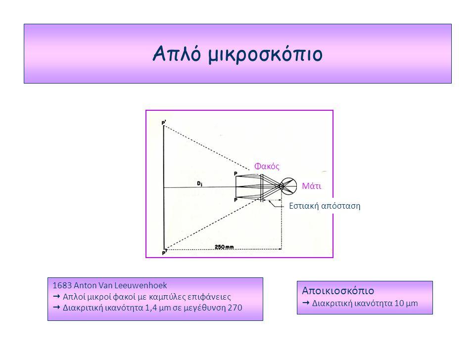 Απλό μικροσκόπιο Φακός Μάτι Εστιακή απόσταση 1683 Anton Van Leeuwenhoek  Απλοί μικροί φακοί με καμπύλες επιφάνειες  Διακριτική ικανότητα 1,4 μm σε μεγέθυνση 270 Αποικιοσκόπιο  Διακριτική ικανότητα 10 μm