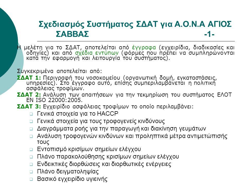 Σχεδιασμός Συστήματος ΣΔΑΤ για Α.Ο.Ν.Α ΑΓΙΟΣ ΣΑΒΒΑΣ-1- Η μελέτη για το ΣΔΑΤ, αποτελείται από έγγραφα (εγχειρίδια, διαδικασίες και οδηγίες) και από σχέ