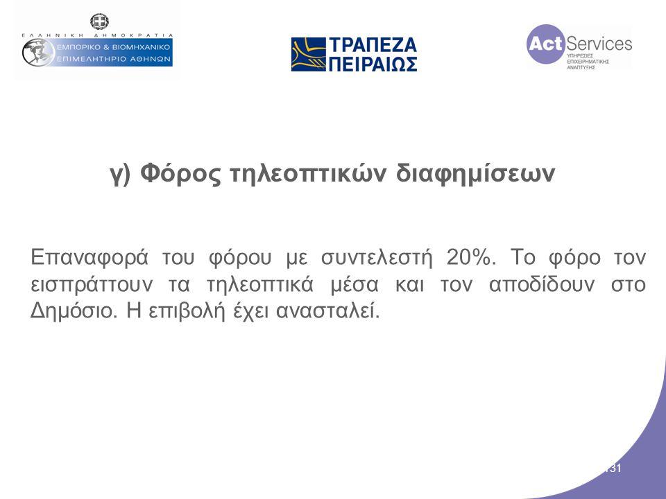 γ) Φόρος τηλεοπτικών διαφημίσεων Επαναφορά του φόρου με συντελεστή 20%. Το φόρο τον εισπράττουν τα τηλεοπτικά μέσα και τον αποδίδουν στο Δημόσιο. Η επ