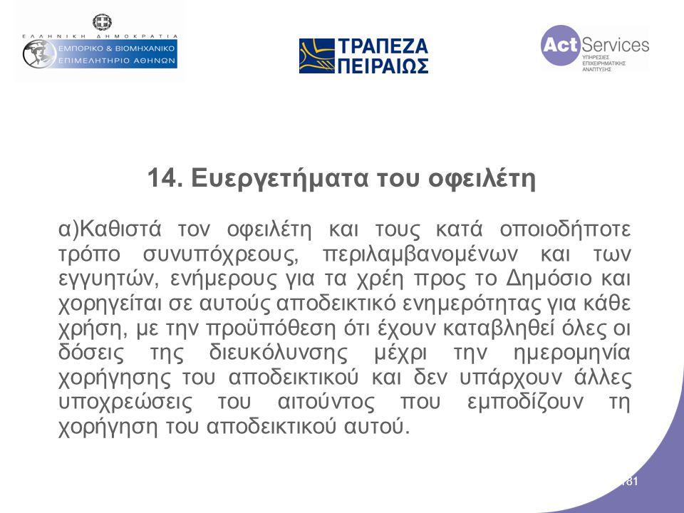 14. Ευεργετήματα του οφειλέτη α)Καθιστά τον οφειλέτη και τους κατά οποιοδήποτε τρόπο συνυπόχρεους, περιλαμβανομένων και των εγγυητών, ενήμερους για τα