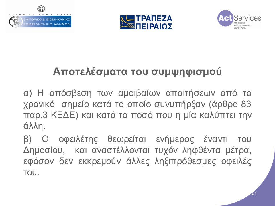 Αποτελέσματα του συμψηφισμού α) Η απόσβεση των αμοιβαίων απαιτήσεων από το χρονικό σημείο κατά το οποίο συνυπήρξαν (άρθρο 83 παρ.3 ΚΕΔΕ) και κατά το π