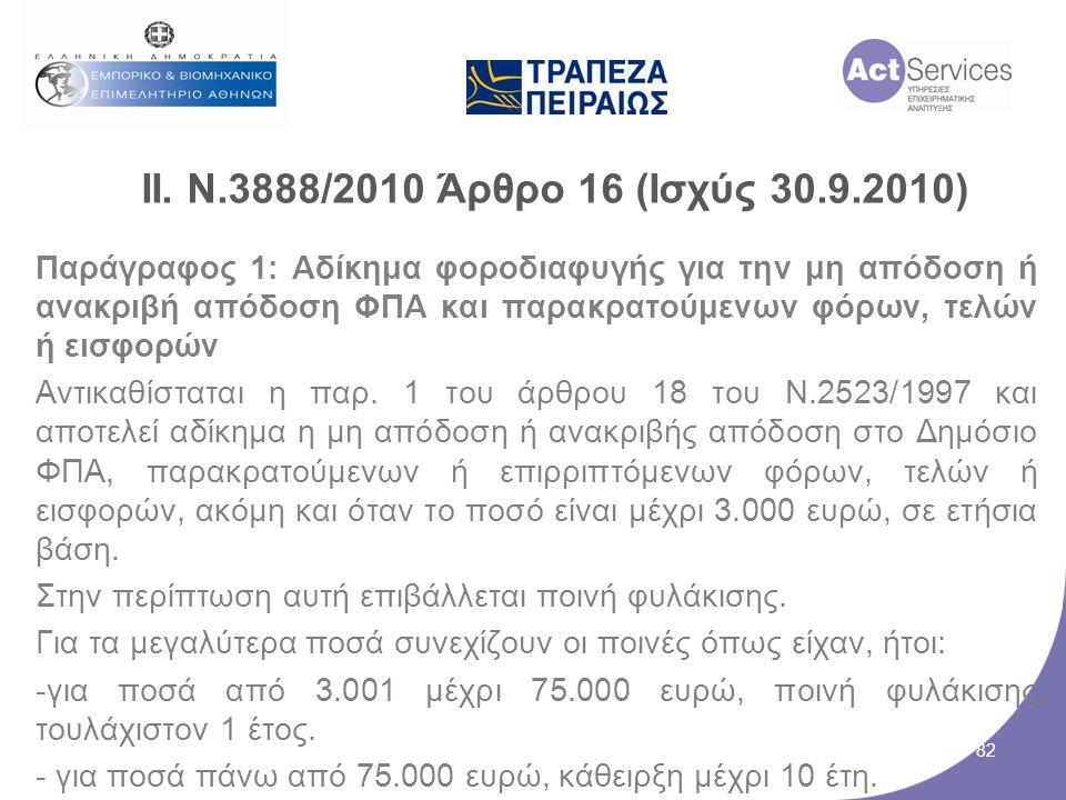 ΙΙ. Ν.3888/2010 Άρθρο 16 (Ισχύς 30.9.2010) Παράγραφος 1: Αδίκημα φοροδιαφυγής για την μη απόδοση ή ανακριβή απόδοση ΦΠΑ και παρακρατούμενων φόρων, τελ