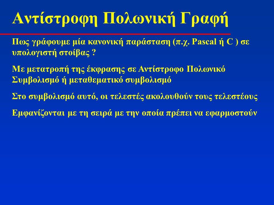 Αντίστροφη Πολωνική Γραφή Πως γράφουμε μία κανονική παράσταση (π.χ. Pascal ή C ) σε υπολογιστή στοίβας ? Με μετατροπή της έκφρασης σε Αντίστροφο Πολων