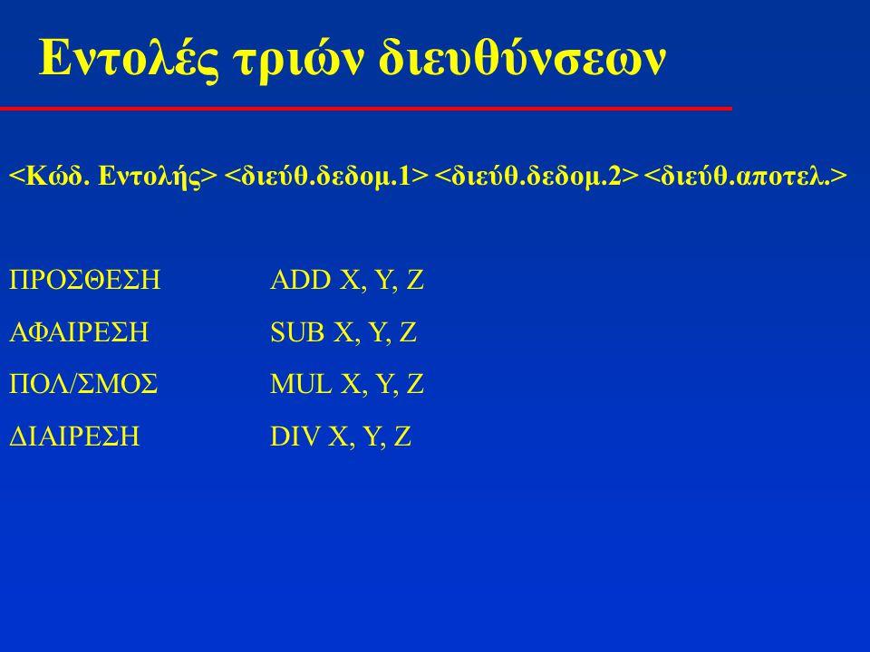 Εντολές τριών διευθύνσεων Έστω η εντολή της C: A = B*(C+D*E-F/G)(5 Αριθμητικοί Τελεστές) MUL D, E, T1 DIV F, G, T2 ADD C, T1, T1 SUB T1, T2, T1 MUL B, T1, A (5 Εντολές assembly)