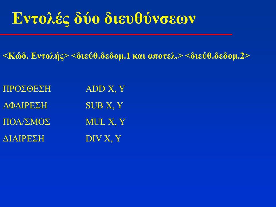 Εντολές δύο διευθύνσεων Η εντολή τριών διευθύνσεων MUL A, B, C αντιστοιχεί στις: SUB C, CΜηδενισμός του αποτελέσματος ADD C, A MUL C, B Οι δύο πρώτες εντολές στην ουσία μεταφέρουν το περιεχόμενο της θέσης Α στην θέση C Για αυτό και τα σύνολα εντολών δύο διευθύνσεων περιέχουν και την εντολή MOVE X, Y