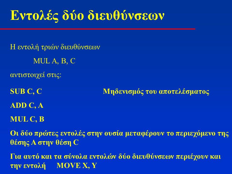 Εντολές δύο διευθύνσεων Η εντολή τριών διευθύνσεων MUL A, B, C αντιστοιχεί στις: SUB C, CΜηδενισμός του αποτελέσματος ADD C, A MUL C, B Οι δύο πρώτες