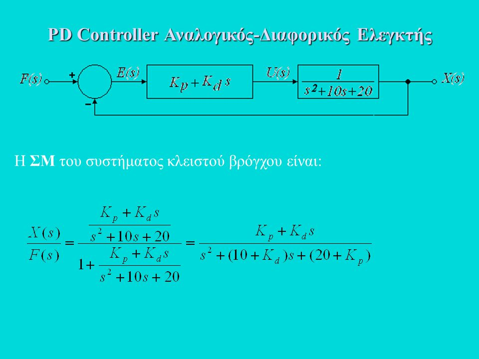PD Controller Αναλογικός-Διαφορικός Ελεγκτής Η ΣΜ του συστήματος κλειστού βρόγχου είναι: