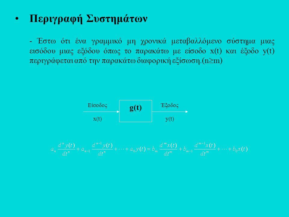 •Περιγραφή Συστημάτων - Έστω ότι ένα γραμμικό μη χρονικά μεταβαλλόμενο σύστημα μιας εισόδου μιας εξόδου όπως το παρακάτω με είσοδο x(t) και έξοδο y(t)