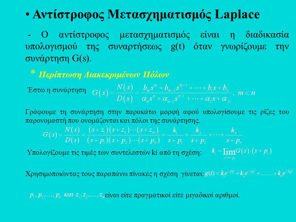 • Αντίστροφος Μετασχηματισμός Laplace - Ο αντίστροφος μετασχηματισμός είναι η διαδικασία υπολογισμού της συναρτήσεως g(t) όταν γνωρίζουμε την συνάρτησ