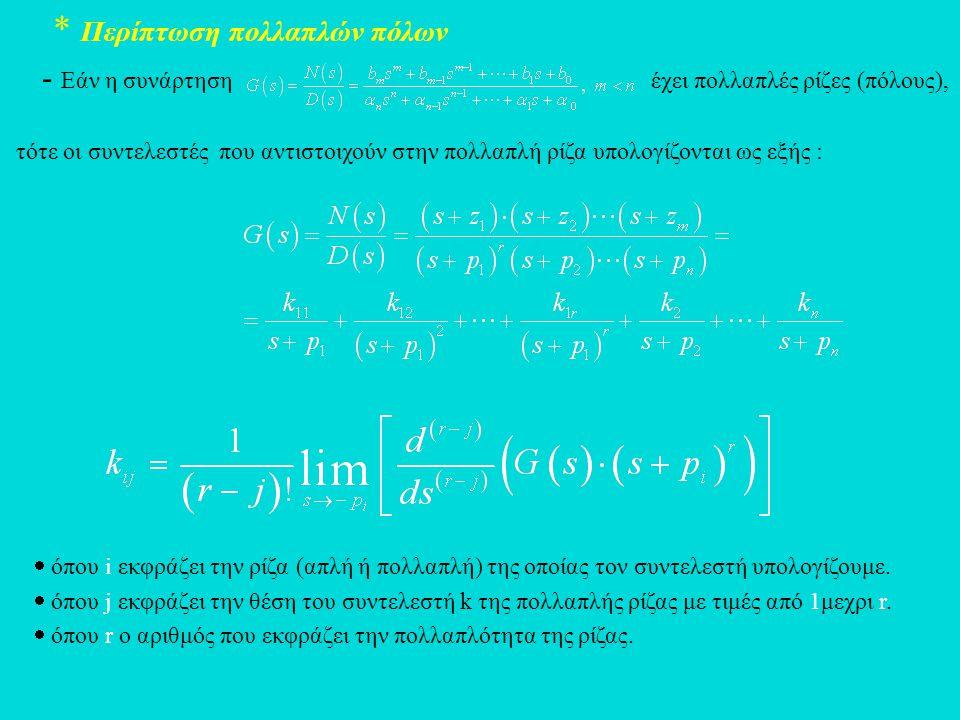 * Περίπτωση πολλαπλών πόλων - Εάν η συνάρτηση έχει πολλαπλές ρίζες (πόλους), τότε οι συντελεστές που αντιστοιχούν στην πολλαπλή ρίζα υπολογίζονται ως