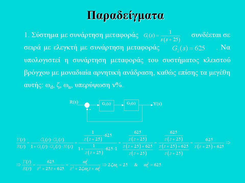 1. Σύστημα με συνάρτηση μεταφοράς συνδέεται σε σειρά με ελεγκτή με συνάρτηση μεταφοράς. Να υπολογιστεί η συνάρτηση μεταφοράς του συστήματος κλειστού β