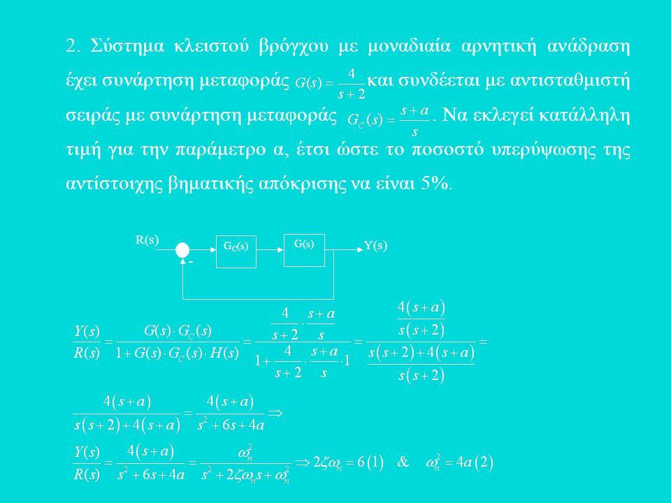 2. Σύστημα κλειστού βρόγχου με μοναδιαία αρνητική ανάδραση έχει συνάρτηση μεταφοράς και συνδέεται με αντισταθμιστή σειράς με συνάρτηση μεταφοράς. Να ε