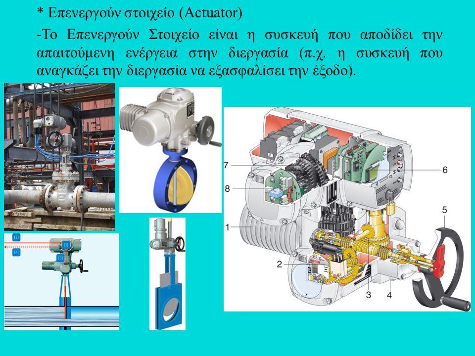 * Επενεργούν στοιχείο (Actuator) -Το Επενεργούν Στοιχείο είναι η συσκευή που αποδίδει την απαιτούμενη ενέργεια στην διεργασία (π.χ. η συσκευή που αναγ