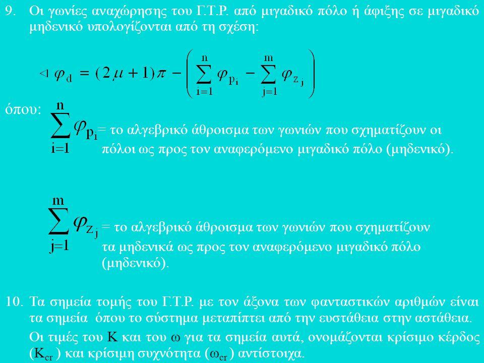 9.Οι γωνίες αναχώρησης του Γ.Τ.Ρ. από μιγαδικό πόλο ή άφιξης σε μιγαδικό μηδενικό υπολογίζονται από τη σχέση: όπου: = το αλγεβρικό άθροισμα των γωνιών