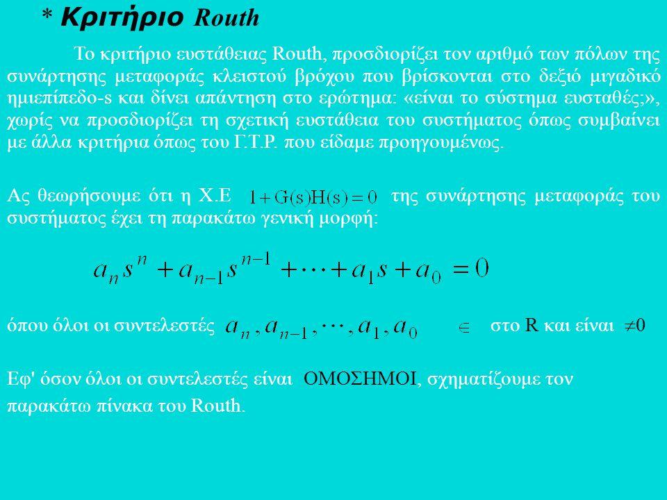 * Κριτήριο Routh Το κριτήριο ευστάθειας Routh, προσδιορίζει τον αριθμό των πόλων της συνάρτησης μεταφοράς κλειστού βρόχου που βρίσκονται στο δεξιό μιγ