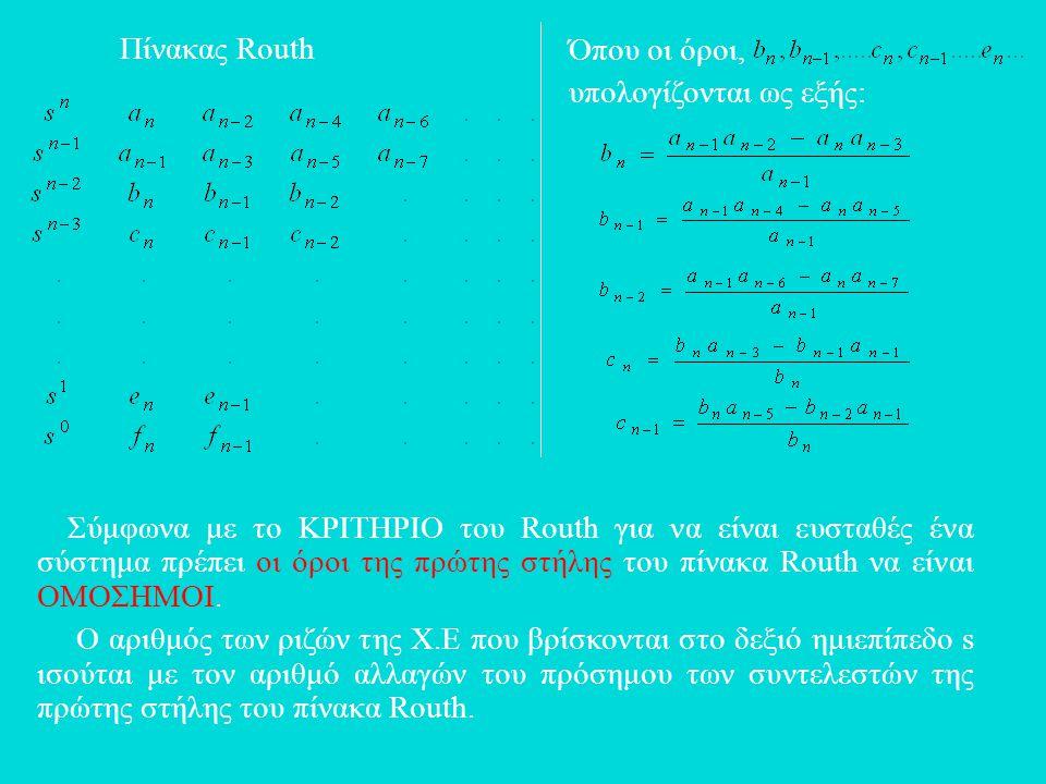 Όπου οι όροι, υπολογίζονται ως εξής: Πίνακας Routh Σύμφωνα με το ΚΡΙΤΗΡΙΟ του Routh για να είναι ευσταθές ένα σύστημα πρέπει οι όροι της πρώτης στήλης