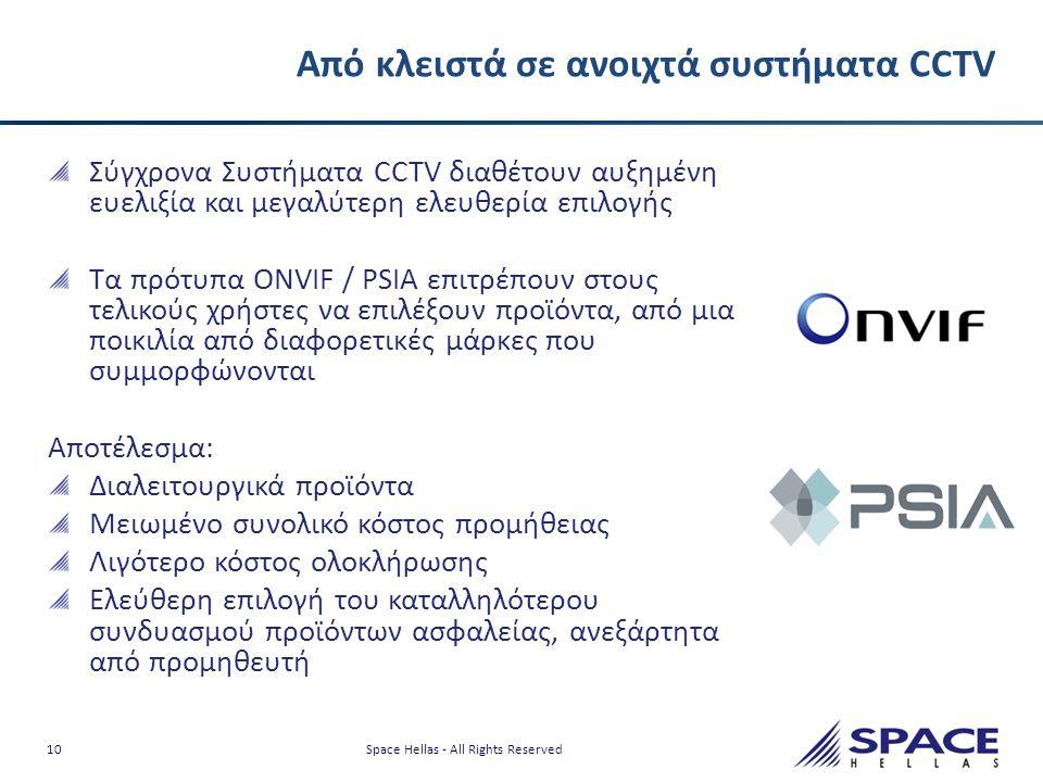 10 Space Hellas - All Rights Reserved Από κλειστά σε ανοιχτά συστήματα CCTV Σύγχρονα Συστήματα CCTV διαθέτουν αυξημένη ευελιξία και μεγαλύτερη ελευθερ