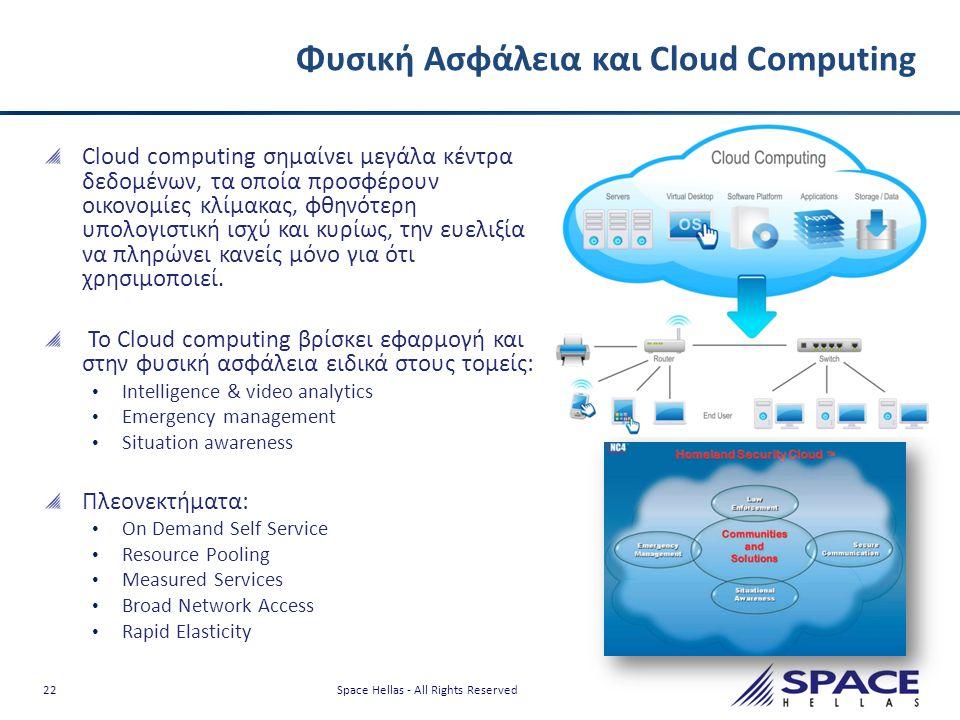 22 Space Hellas - All Rights Reserved Φυσική Ασφάλεια και Cloud Computing Cloud computing σημαίνει μεγάλα κέντρα δεδομένων, τα οποία προσφέρουν οικονο