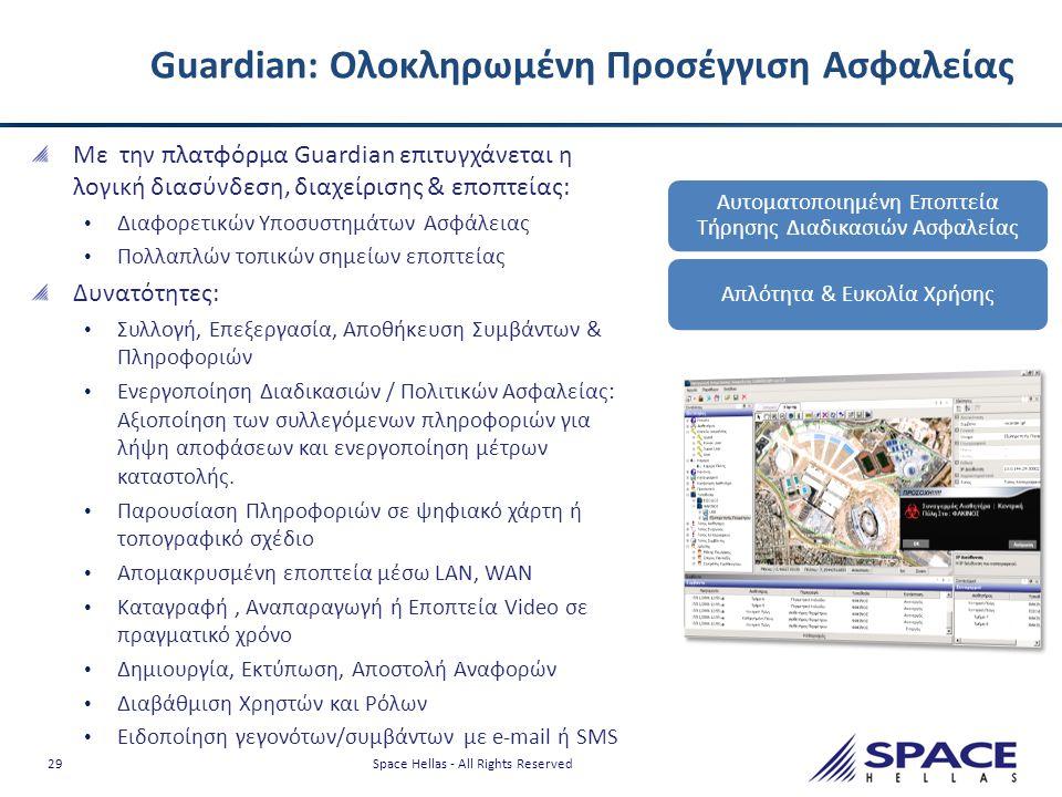 29 Space Hellas - All Rights Reserved Guardian: Ολοκληρωμένη Προσέγγιση Ασφαλείας Με την πλατφόρμα Guardian επιτυγχάνεται η λογική διασύνδεση, διαχείρ
