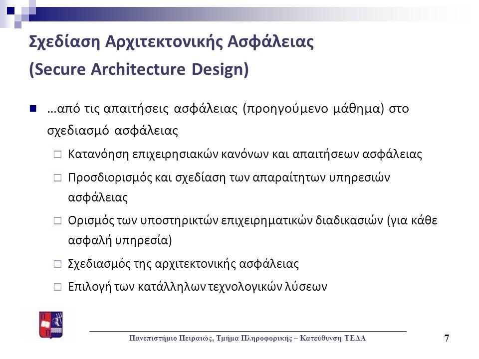 Σχεδίαση Αρχιτεκτονικής Ασφάλειας (Secure Architecture Design)  …από τις απαιτήσεις ασφάλειας (προηγούμενο μάθημα) στο σχεδιασμό ασφάλειας  Κατανόησ