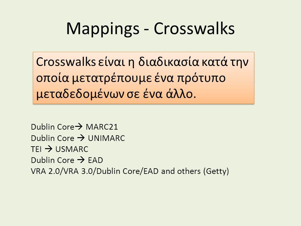 Mappings - Crosswalks Dublin Core  MARC21 Dublin Core  UNIMARC TEI  USMARC Dublin Core  EAD VRA 2.0/VRA 3.0/Dublin Core/EAD and others (Getty) Cro