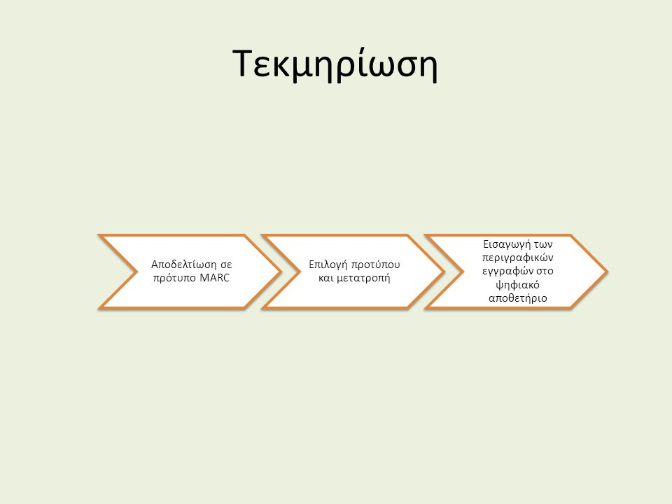 Τεκμηρίωση Αποδελτίωση σε πρότυπο MARC Επιλογή προτύπου και μετατροπή Εισαγωγή των περιγραφικών εγγραφών στο ψηφιακό αποθετήριο