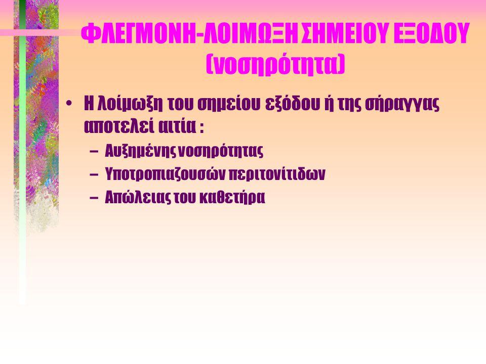 ΦΛΕΓΜΟΝΗ-ΛΟΙΜΩΞΗ ΣΗΜΕΙΟΥ ΕΞΟΔΟΥ (θεραπεία) (Ι) •Πολύ καλή και καλή έξοδος –Ακινησία καθετήρα –Περιποίηση με νερό και σαπούνι (καθημερινά) –Αποφυγή λουτρού (κίνδυνος τραυματισμών) •Αμφίβολη έξοδος –Καυτηριασμός κοκκιωματώδους ιστού –Αλοιφή μουπιροσίνης (bactroban) για Gram θετικά – Αλοιφή Neosporin (για χρ.