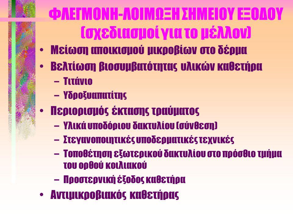 ΦΛΕΓΜΟΝΗ-ΛΟΙΜΩΞΗ ΣΗΜΕΙΟΥ ΕΞΟΔΟΥ (προφυλακτική θεραπεία) •Τοπική εφαρμογή αντιβιοτικών γίνεται μόνο σε : –Αμφίβολη έξοδο –Σε ασθενείς με υποτροπιάζουσε