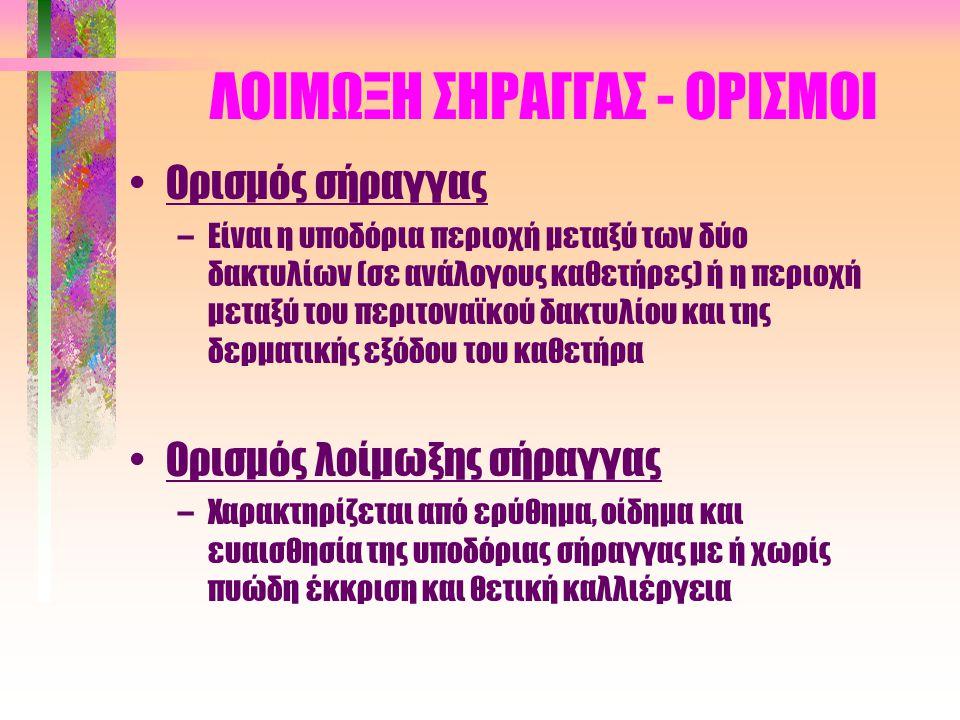 ΦΛΕΓΜΟΝΗ-ΛΟΙΜΩΞΗ ΣΗΜΕΙΟΥ ΕΞΟΔΟΥ (σχεδιασμοί για το μέλλον) •Μείωση αποικισμού μικροβίων στο δέρμα •Βελτίωση βιοσυμβατότητας υλικών καθετήρα –Τιτάνιο –Υδροξυαπατίτης •Περιορισμός έκτασης τραύματος –Υλικά υποδόριου δακτυλίου (σύνθεση) –Στεγανοποιητικές υποδερματικές τεχνικές –Τοποθέτηση εξωτερικού δακτυλίου στο πρόσθιο τμήμα του ορθού κοιλιακού –Προστερνική έξοδος καθετήρα •Αντιμικροβιακός καθετήρας