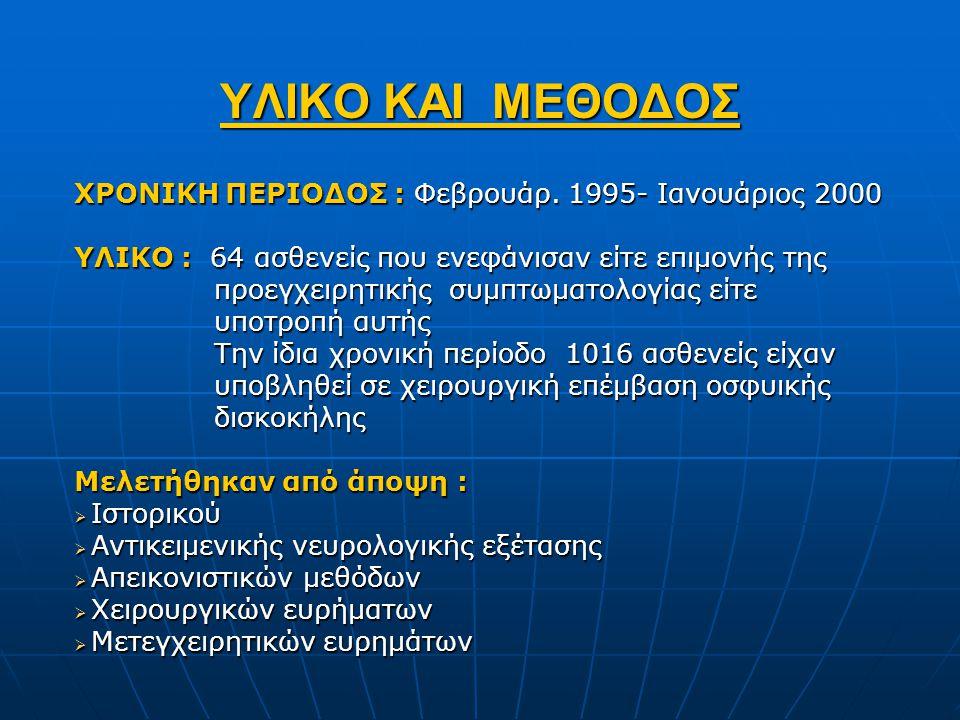 ΥΛΙΚΟ ΚΑΙ ΜΕΘΟΔΟΣ ΧΡΟΝΙΚΗ ΠΕΡΙΟΔΟΣ : Φεβρουάρ. 1995- Ιανουάριος 2000 ΥΛΙΚΟ : 64 ασθενείς που ενεφάνισαν είτε επιμονής της προεγχειρητικής συμπτωματολο