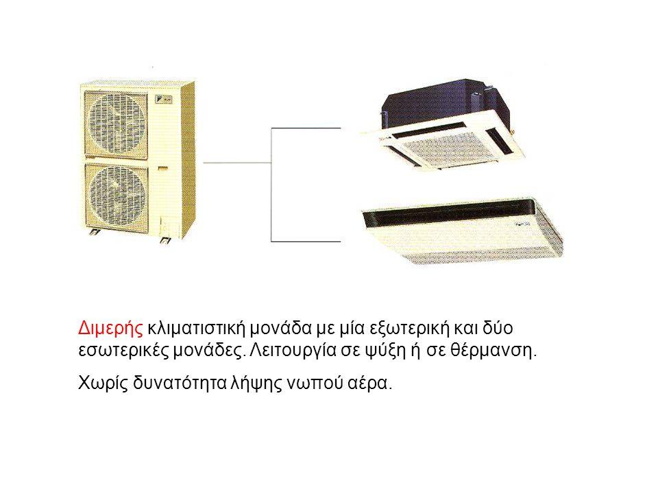 Διμερής κλιματιστική μονάδα με μία εξωτερική και δύο εσωτερικές μονάδες. Λειτουργία σε ψύξη ή σε θέρμανση. Χωρίς δυνατότητα λήψης νωπού αέρα.