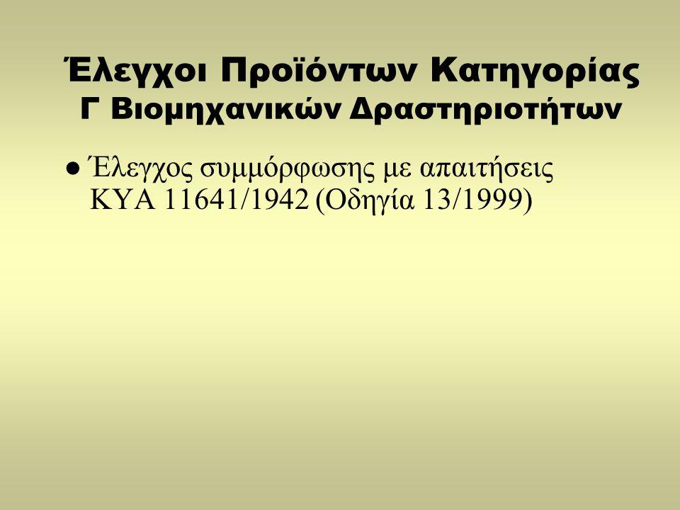 Έλεγχοι Προϊόντων Κατηγορίας Γ Βιομηχανικών Δραστηριοτήτων  Έλεγχος συμμόρφωσης με απαιτήσεις ΚΥΑ 11641/1942 (Οδηγία 13/1999)