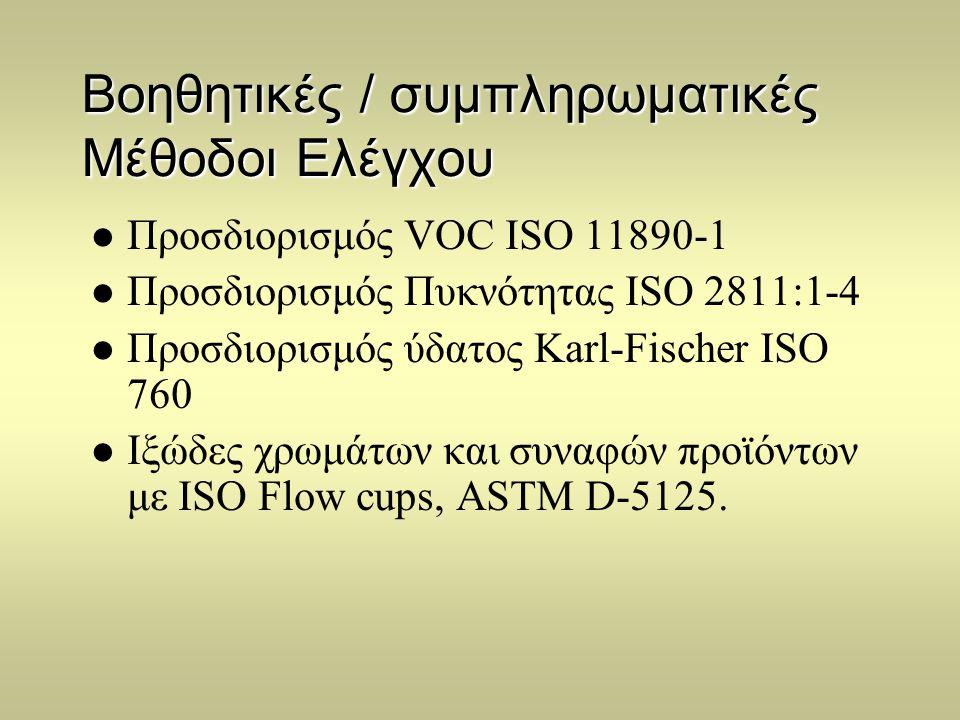 Βοηθητικές / συμπληρωματικές Μέθοδοι Ελέγχου  Προσδιορισμός VOC ISO 11890-1  Προσδιορισμός Πυκνότητας ISO 2811:1-4  Προσδιορισμός ύδατος Karl-Fisch