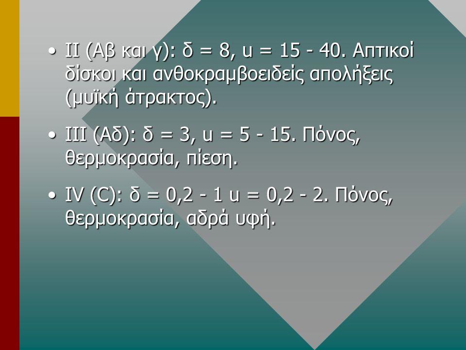 •ΙΙ (Αβ και γ): δ = 8, u = 15 - 40. Απτικοί δίσκοι και ανθοκραμβοειδείς απολήξεις (μυϊκή άτρακτος). •ΙΙΙ (Αδ): δ = 3, u = 5 - 15. Πόνος, θερμοκρασία,