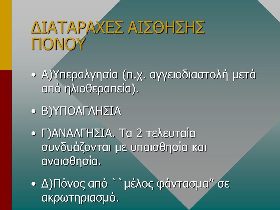 ΔΙΑΤΑΡΑΧΕΣ ΑΙΣΘΗΣΗΣ ΠΟΝΟΥ •Α)Υπεραλγησία (π.χ. αγγειοδιαστολή μετά από ηλιοθεραπεία). •Β)ΥΠΟΑΓΛΗΣΙΑ •Γ)ΑΝΑΛΓΗΣΙΑ. Τα 2 τελευταία συνδυάζονται με υπαισ