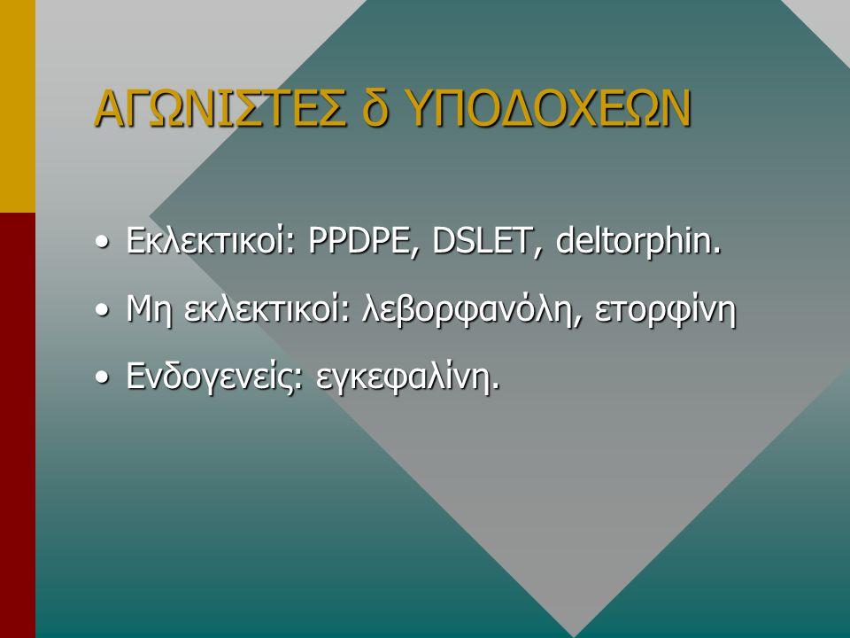 ΑΓΩΝΙΣΤΕΣ δ ΥΠΟΔΟΧΕΩΝ •Εκλεκτικοί: PPDPE, DSLET, deltorphin. •Μη εκλεκτικοί: λεβορφανόλη, ετορφίνη •Ενδογενείς: εγκεφαλίνη.