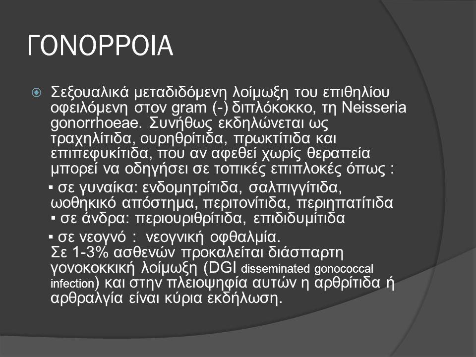 ΓΟΝΟΡΡΟΙΑ  Σεξουαλικά μεταδιδόμενη λοίμωξη του επιθηλίου οφειλόμενη στον gram (-) διπλόκοκκο, τη Neisseria gonorrhoeae. Συνήθως εκδηλώνεται ως τραχηλ