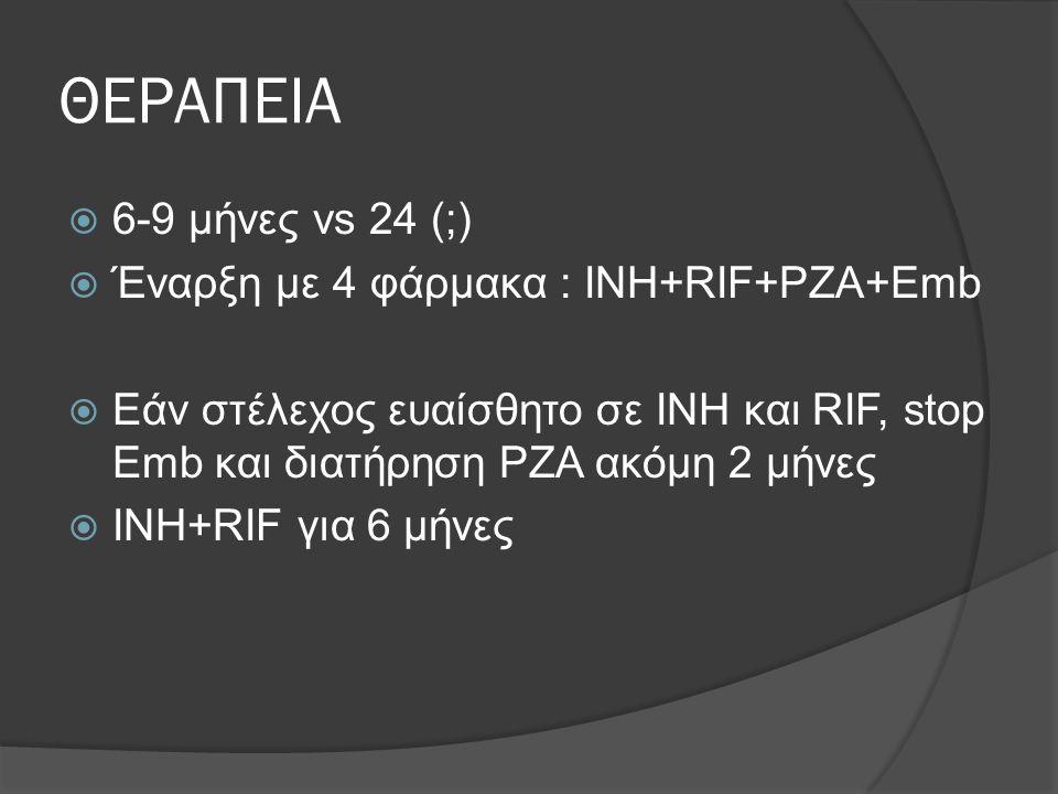 ΘΕΡΑΠΕΙΑ  6-9 μήνες vs 24 (;)  Έναρξη με 4 φάρμακα : INH+RIF+PZA+Emb  Εάν στέλεχος ευαίσθητο σε INH και RIF, stop Emb και διατήρηση PZA ακόμη 2 μήν
