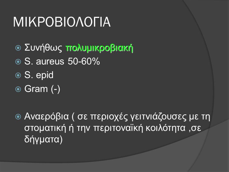 ΜΙΚΡΟΒΙΟΛΟΓΙΑ πολυμικροβιακή  Συνήθως πολυμικροβιακή  S. aureus 50-60%  S. epid  Gram (-)  Αναερόβια ( σε περιοχές γειτνιάζουσες με τη στοματική