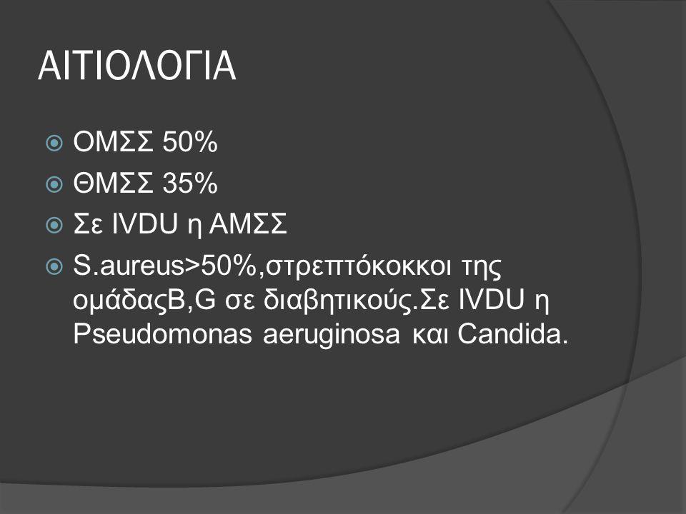 ΑΙΤΙΟΛΟΓΙΑ  ΟΜΣΣ 50%  ΘΜΣΣ 35%  Σε ΙVDU η ΑΜΣΣ  S.aureus>50%,στρεπτόκοκκοι της ομάδαςΒ,G σε διαβητικούς.Σε IVDU η Pseudomonas aeruginosa και Candi