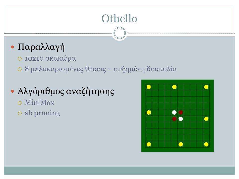 Othello  Παραλλαγή  10x10 σκακιέρα  8 μπλοκαρισμένες θέσεις – αυξημένη δυσκολία  Αλγόριθμος αναζήτησης  MiniMax  ab pruning
